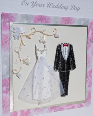 Bride and Groom Wedding Card Closeup - Ref P168