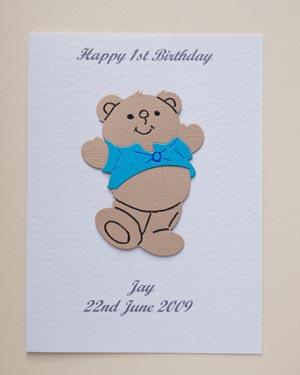 Harvey Bear - Boys Birthday Card Front - Ref P172