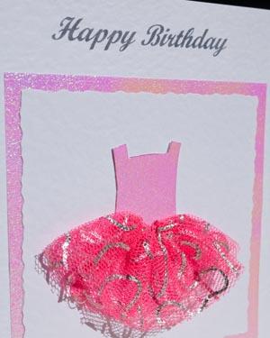 Ballet dress - Girls Birthday Card Closeup - Ref P173
