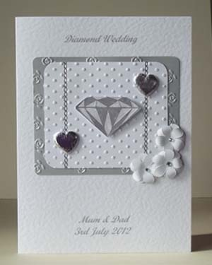Diamond Sparkles - Diamond Wedding Anniversary Card Front - Ref P180