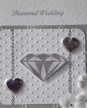 DiamondSsparkles - Diamond Wedding Anniversary Card Closeup - Ref P180
