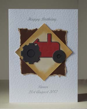 Little Red Tractor - Men's Birthday Card Front - Ref P181