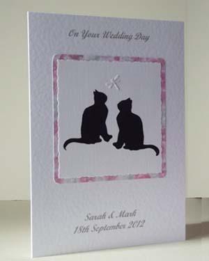 Lucky Black Cats Wedding Card Angle - Ref P182