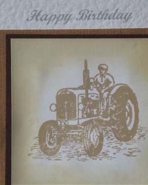 Vintage Tractor in Sepia – Men's Birthday Card Closeup - Ref P185