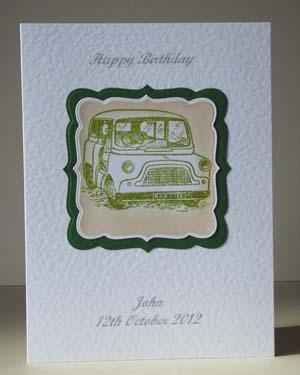 Mini Car - Men's Birthday Card Front - Ref P187