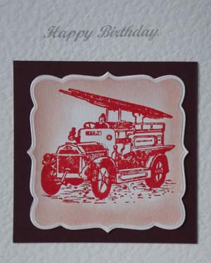 Vintage Fire Engine - Men's Birthday Card Closeup - Ref P188