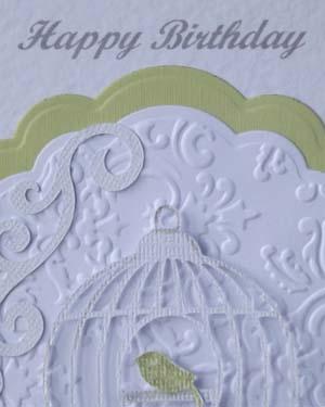 Bird Cage Women's Birthday Card Closeup – Ref P190