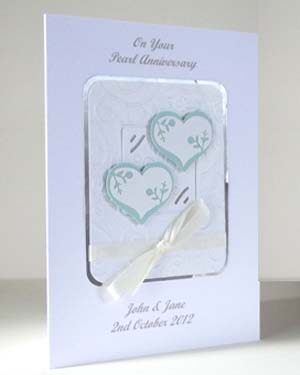 Pearly Hearts - Pearl Wedding Anniversary Card Angle - Ref P191