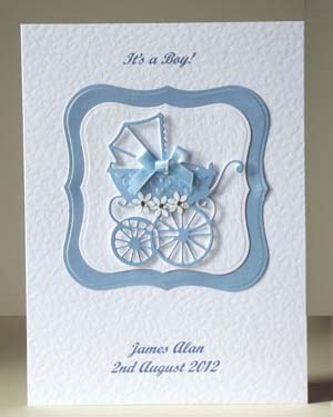 Pearly Blue Pram New Baby Boy Card Front - Ref P193