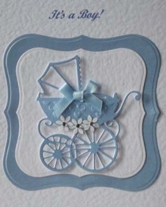 Pearly Blue Pram New Baby Boy Card Closeup - Ref P193