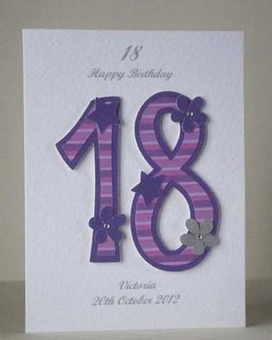 Pink and Purple 18 - 18th Birthday Card Front - Ref P194