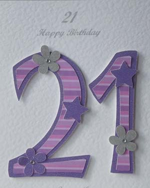 Pink and Purple 21 - 21st Birthday Card Closeup - Ref P195