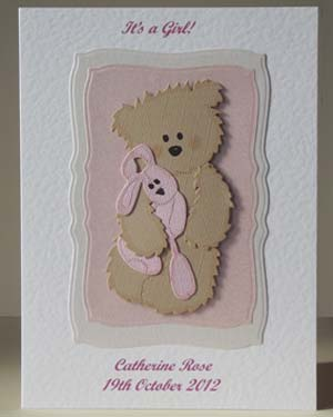 Teddy and Pink Rabbit - New Baby Card Front - Ref P198