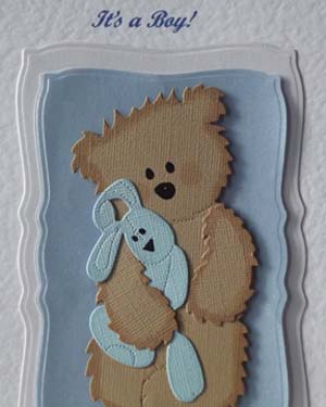 Teddy and Blue Rabbit - New Baby Card Closeup - Ref P199
