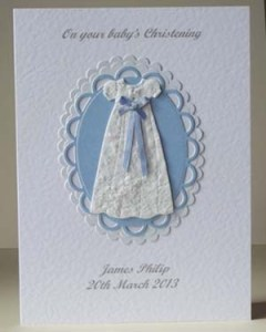 Blue Ribbon Christening Card Front - Ref P200