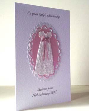Pink Ribbon Christening Card Angle - Ref P201