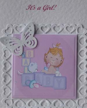 Butterfly Girl New Baby Card Closeup - Ref P202
