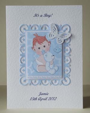 Butterfly Boy New Baby Boy Card Front - Ref P203