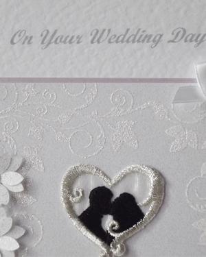 Classic Silhouette Wedding Card Closeup - Ref 204