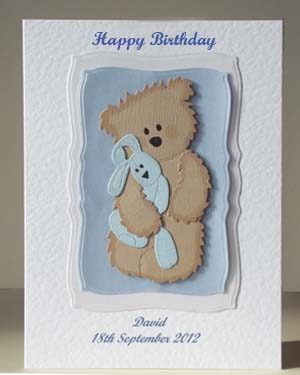Scruffy Ted and Blue Rabbit - Boy's Birthday Card Front - Ref P209