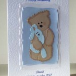 Scruffy Ted and Blue Rabbit - Boy's Birthday Card Angle - Ref P209