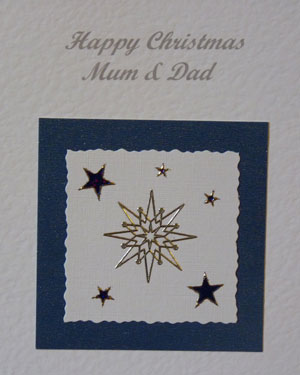 Twinkling Stars Christmas Card Closeup - Ref PC590