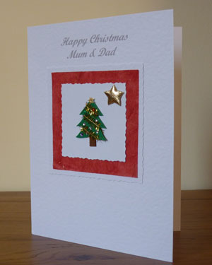Tree and Gold Star Christmas Card Angle - Ref PC592