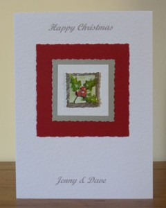 Holly Christmas Card Front - Ref PC595