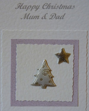 Tree and Star Christmas Card Closeup - Ref PC600