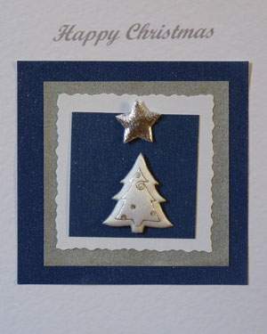 White and Silver Tree Christmas Card Closeup - Ref PC602