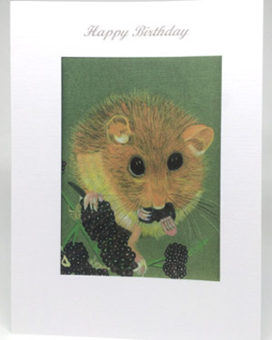 Dormouse on Blackberries Artwork Card - Ref A203