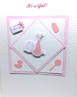 Special Delivery - New Baby Girl Card Closeup- Ref P129