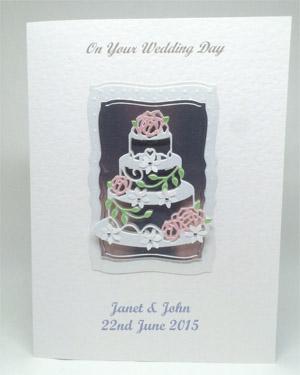 Rose Wedding Cake - Wedding Card Front - Ref P212