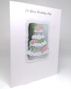 Rose Wedding Cake - Wedding Card Angle - Ref P212