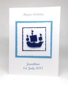 Sailing Ship - Men's Birthday Card Front - Ref P213