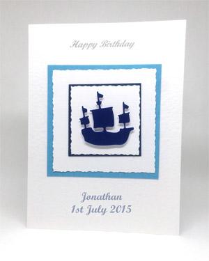 Sailing Ship - Men's Birthday Card Front - Ref P213