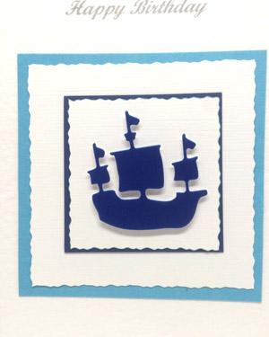 Sailing Ship - Men's Birthday Card Closeup - Ref P213