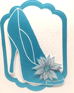 Blue Glitzy Shoe - Women's Birthday Card Closeup - Ref P216