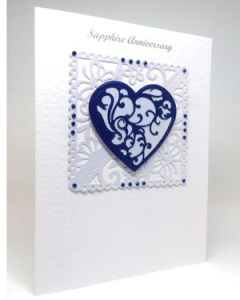 Sapphire Blue - Sapphire Wedding Anniversary Card Angle - Ref P220