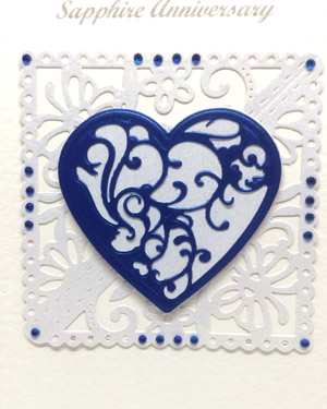 Sapphire Blue - Sapphire Wedding Anniversary Card Closeup - Ref P220