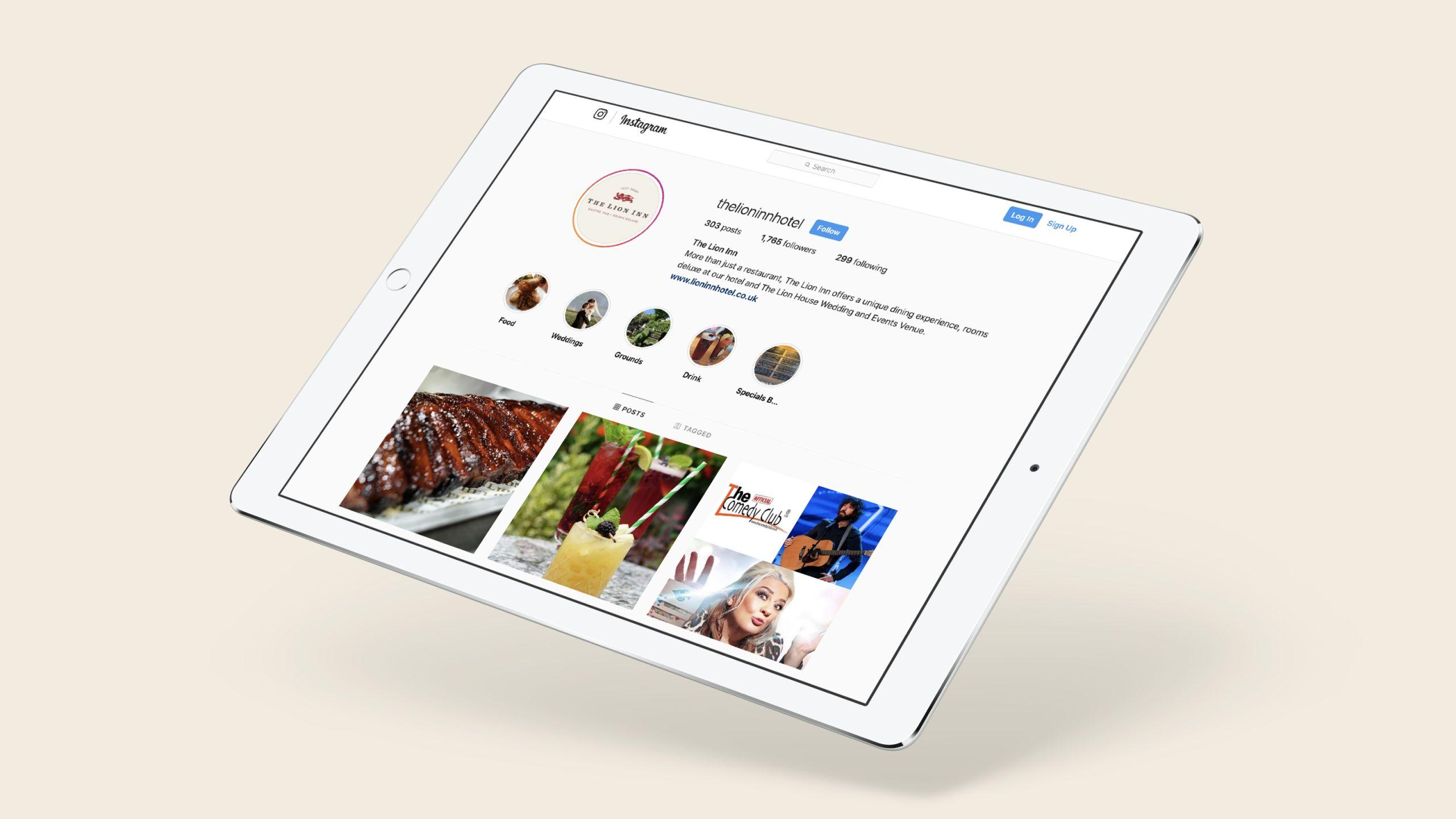 The Lion Inn Instagram profile on a tablet