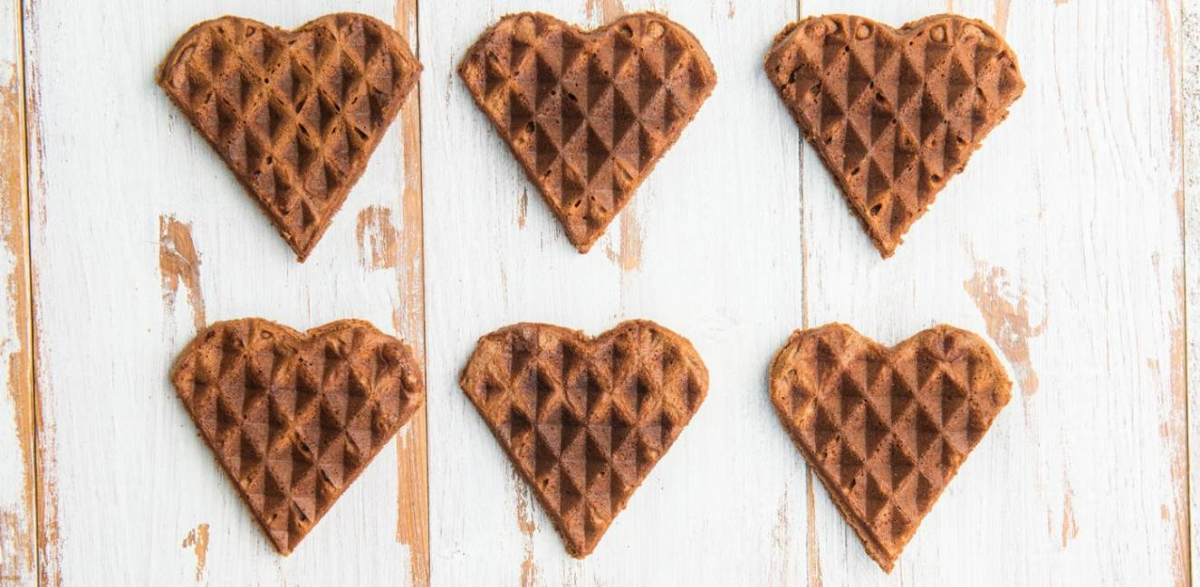 Small chocolate heart shaped waffles