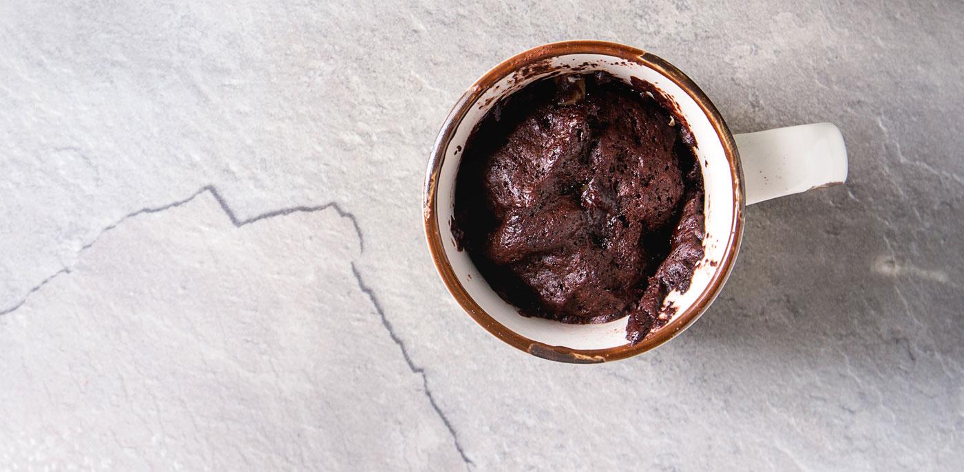 Chocolate lava cake in a mug
