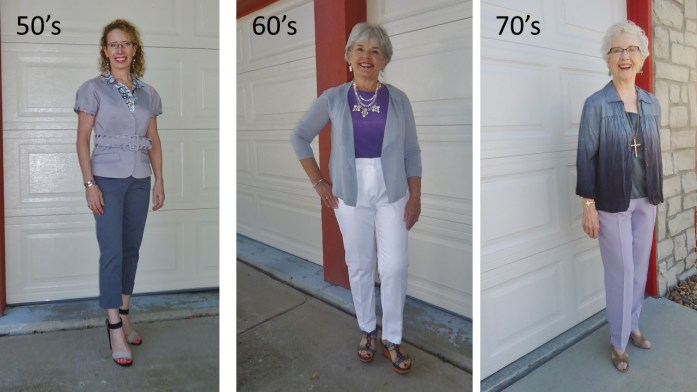 Purple for the 50's, 60's, & 70's Great clothing styling for women ages 50 and up