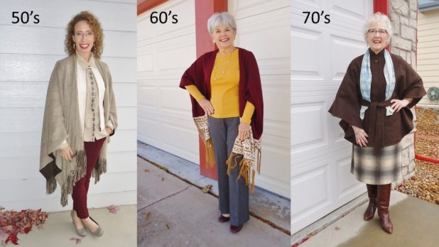 Capes & Ponchos for the 50, 60 & 70 year old women.