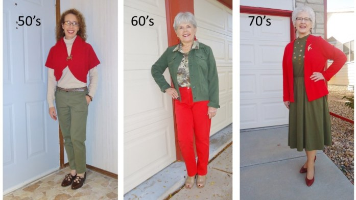 Olive green for the 50, 60 & 70 year old women.