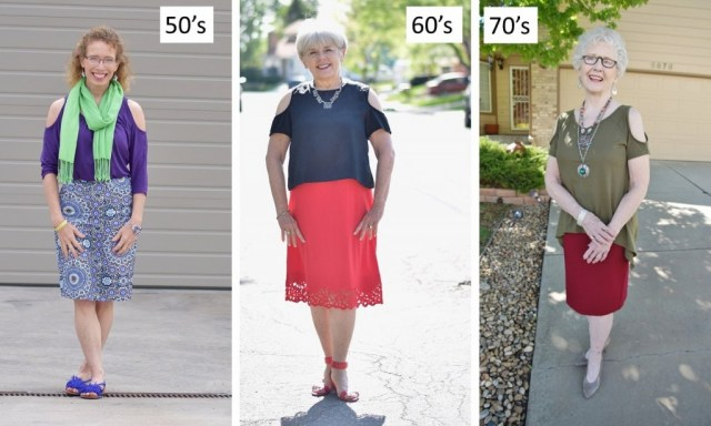 open shoulder shirts for women in their 50's, 60's & 70's.