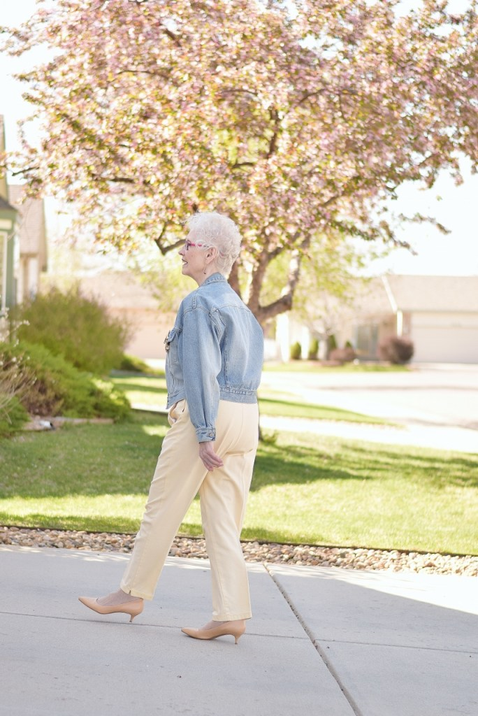 Looking Modern with a jean jacket for women over 70