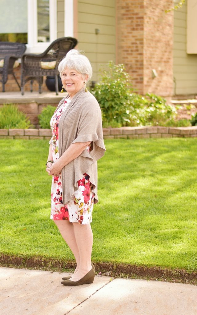 A dress, a cardigan & shoes For Women over 60