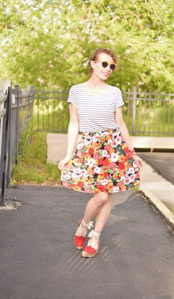 Floral skirt from classic to modern styling